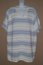Womens Plus Size 26W 28W 4X Short Sleeve Blue White Marled Striped Sweater