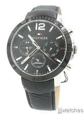New Tommy Hilfiger Multi-Function Black Leather Men Watch 47mm 1791268 $175