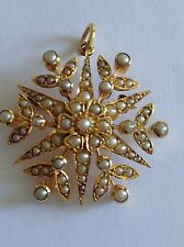 Fine Antique Victorian 15ct Gold & Seed Pearl Set Snowflake Pendant - Brooch