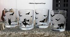 WILLIAMS-SONOMA HALLOWEEN MOON TUMBLERS (4) -NIB- HERE'S TO A FRIGHTFUL NIGHT!