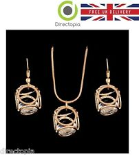 18K Gold Plated Austrian Crystal Necklace &  Earring Set Cube Deisgn Gift Bijoux