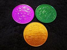 ENDYMION 2013 SET of 3 MARDI GRAS PURPLE-GOLD-GREEN DOUBLOONS PONTCHARTRAIN