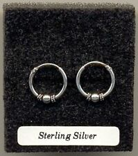 Silver Bali Ball 12mm Hoops Sterling Silver 925 Earrings Pair