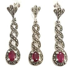 GREAT ART DECO STYLE RED RUBY MARCASITE SET PENDANT EARRING 925 STERLING SILVER