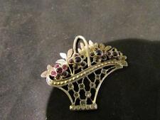 Lovely Vintage Solid Silver, Garnet & Gemstone Basket Of Flowers Pendant