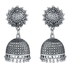 Spargz New Indian Bollywood Oxidized Silver Plated Jhumka Earrings AIER 1006