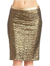 2b bebe Double High Side Slit Gold Champagne Sequins Knee Length Pencil Skirt S