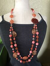 """ROBERT ROSE QVC Long 36"""" Layered Bead Necklace Pink Coral Molded Flower"""