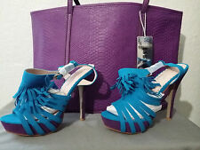 NEW ANNIE PINKY HIGH HEEL SIZE6 BLUE & PURPLE OPEN TOE SUEDE