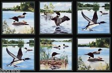 6 BEAUTIFUL WILDLIFE PANELS FLYING SWIMMING LOONS BIRDS DUCKS QUILTS HOME DECOR