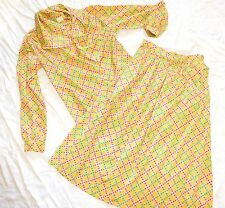 vtg 60s GEOMETRIC Secretary XS/S Yellow Skirt Ascot Pussy Bow Blouse Set lot 70s