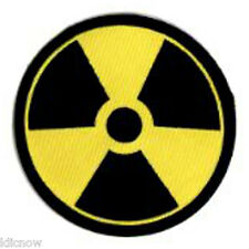 """RADIATION WARNING EMBROIDERED PATCH  7.5CM Dia (3"""" Dia"""")"""