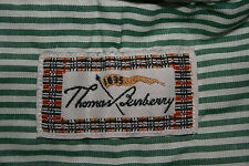 Men THOMAS BURBERRY Long Sleeve GREEN STRIPE SHIRT Button Down Collar SIZE LARGE