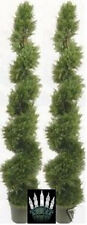 "2 ARTIFICIAL CYPRESS IN OUTDOOR TREE 6'4"" TOPIARY PLANT WITH CHRISTMAS LIGHTS"