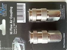 "NEW PACK OF 2 QUALITY HI FLOW AIR COUPLING 1/4"" BSP FEMALE THREAD AIR FITTING"