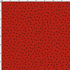 Loralie Designs Dinky Dots Red & Black Polka Dot Cotton Quilting Fabric BTY