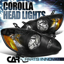 03-08 Corolla Clear Lens Black Housing Head Lights Corner Signal Lamps+Amber