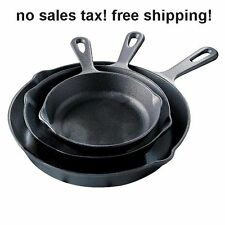 Kitchen 3 Piece Cast Iron Fry Pan Set Skillets Cook Stove Top Oven Camp Black