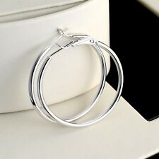 Wedding 18k White Gold Filled Lady Charms Earrings 35mm ring Hoop Jewelry