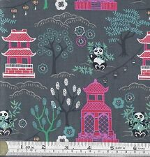 PATCHWORK/ CRAFT FABRIC FAT QTR LEWIS & IRENE MIN SHAN DESIGN PAGODAS & PANDAS