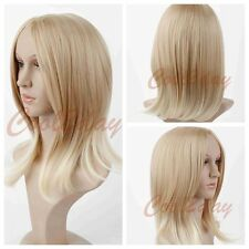 Medium Long Bob Women Straight Blonde Wigs Synthetic Hair Cosplay Anime Wigs+Cap