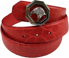 STEFANO RICCI RED CROCODILE BELT WITH SILVER BUCKLE- SIZE 100/36