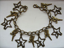 LOVELY Handmade  TINKERBELL Bronze Chain Bracelet  with 12  Bronze Charms