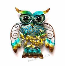 OWL BLUE Metal & Glittered Glass small Wall Art for Indoor or Outdoor use
