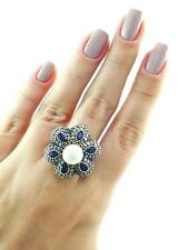 Turkish Ottoman 925 Sterling Silver Jewelry Authentic Pearl Ring Size 7.5 R1563