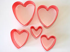 Heart Shaped Cutters, Set of 5, Plastic, Pastry, Biscuit Fondant Cake Decorating