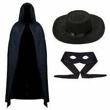 Musketeer Bandit & Hat Adults Fancy Dress Legend of Zorro Mexican Costume Outfit
