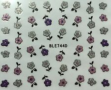 Nail Art 3D Glitter Decal Stickers Pink Purple & Silver Flowers BLE744D