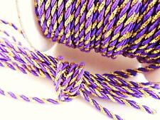 10 yards Metallic Nylon Twine Cord 2mm/Braid/Trim/Craft/String T116-Gold-Purple