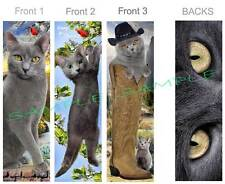 3 Lot-CAT Russian Blue BOOKMARK Gray Cowboy Western ART CARD Figurine Ornament
