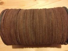 2m Brown 3mm Real Suede Leather Cord Thong Laces Free Postage & Packing