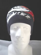 Knit Beanie Skull Red Flames Hat Cap Biker Ghost Rider Blue Stretchy