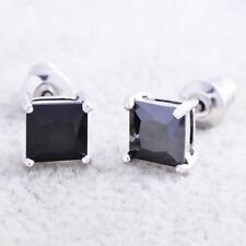 mens black earrings white gold filled crystal diamond stud punk earrings