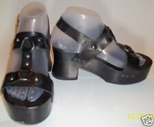 Ecote X Urban Outfitters US6 Platform Harness Sandals Black Leather Wooden Heel