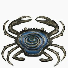 Bronze Blue Maryland Crab Wall Art Glass & Metal Decor Ocean Indoor Outdoor 20""