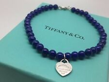 "Tiffany & Co Return to Tiffany Silver Lapis Heart Mini Ball Bead 7"" Bracelet"
