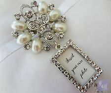 Stunning Rhinestone and Pearl Wedding Bouquet Photo Brooch with pin - DIY