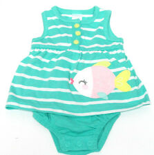 Carter's Baby Girls Green & White Stripe Summer Romper Playsuit - Newborn BNWT