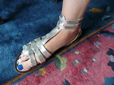 OFFICE London SILVER Leather Gladiator Strappy Sandals Size 41 EU 8UK