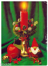 1994 Russian card for X-mas or New Year: Candle, Apple, Dwarf and ornaments