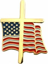 "American Flag Cross 3/4"" Lapel Pin"
