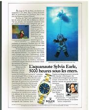 Publicité Advertising 1987 La Montre Rolex date Just avec Sylvia Earle