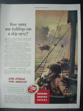 1943 United States Steel WW2 War Ships Troop Carriers Vintage Print Ad 11968