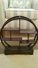 Small Circular Oriental Style Wooden Whatnot Display Shelf for Collectables