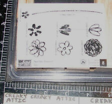 STAMPIN UP SPRINGTIME STEMS 8 RUBBER STAMPS FLOWERS LEAVES