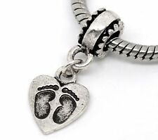 Silver Baby Childrens Footprint Heart Dangle Charms Bead For Charm Bracelets